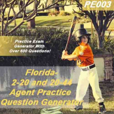 Florida: 2-20 and 20-44 Agent Practice Question Generator (PE003)